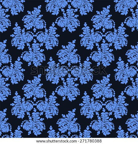 Ornate seamless  blue floral Wallpaper.  Raster version. - stock photo