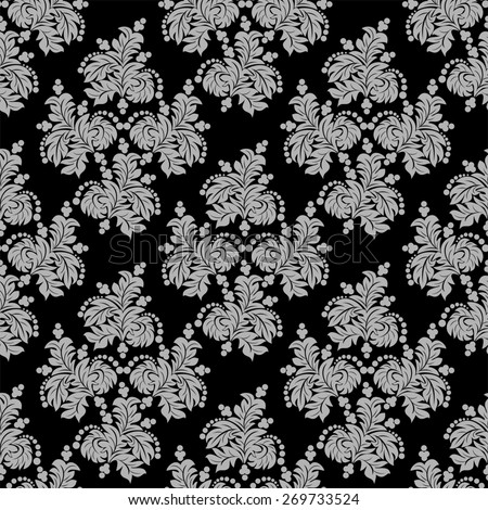 Ornate seamless  floral Wallpaper for design. Raster version. - stock photo