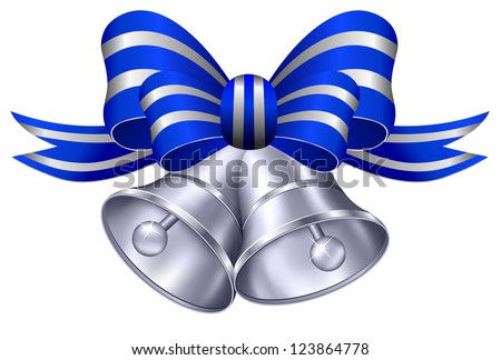 Ornate Silver Wedding Bells with Blue and Silver Ribbon - Raster Version - stock photo