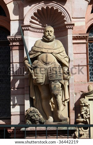 Ornate statue, Heidelberg Castle, Germany