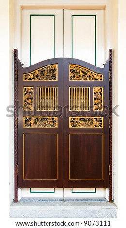 Ornate swing doors of Straits Chinese (Peranakan) origin