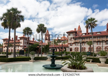 Ornate tower and details of Ponce de Leon hotel now Flagler college built Henry Flagler in St Augustine Florida - stock photo