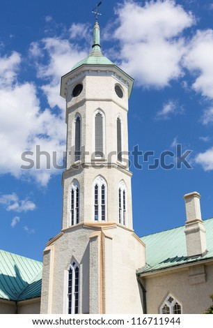 Ornate tower and roof of Fredericksburg County Courthouse Virginia - stock photo