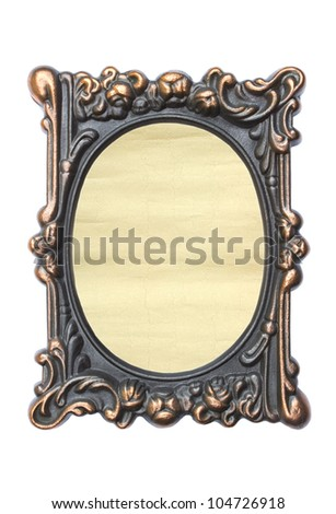 Ornate vintage frame isolated on white background.Aged paper in a metal frame. - stock photo