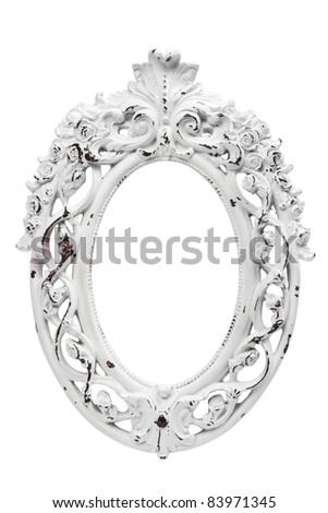 Ornate vintage white frame - stock photo