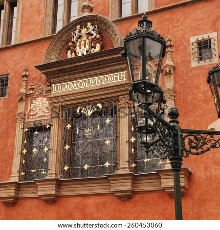 Ornate Window of Old City Hall, Mikes de Furrier House ( Miksuv Dum 1458) with Neo-Renaissance facade and Renaissance window from 1520. Prague, Czech Republic.Square image - stock photo