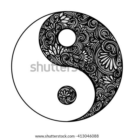 Ornate Yin Yang Symbol. Beautiful Decorative Emblem. Black and White Illustration - stock photo