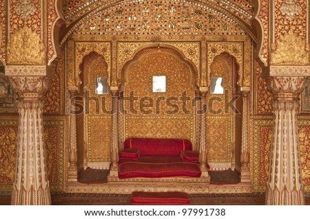 Ornately decorated room inside the palace of the Maharjah of Bikaner. Rajasthan, India - stock photo