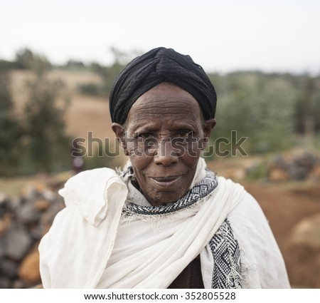 OROMIA, ETHIOPIA-APRIL 22, 2015: Portrait of unidentified Oromic woman in the highlands of Ethiopia - stock photo