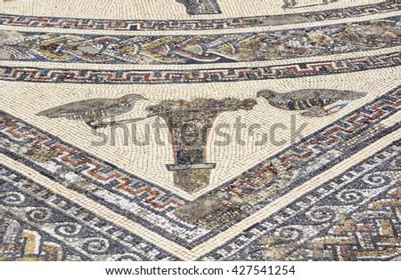 Orpheus mosaic in ruins of roman town Volubilis near Meknes, Morocco - stock photo
