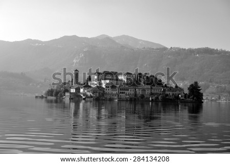 ORTA SAN GIULIO, ITALY - February 19: Isle of Orta San Giulio, on February 19, 2015 in Orta, Italy - stock photo