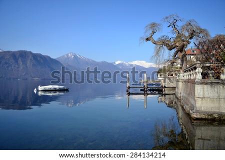 ORTA SAN GIULIO, ITALY - February 19: Orta Lake, on February 19, 2015 in Orta, Italy - stock photo