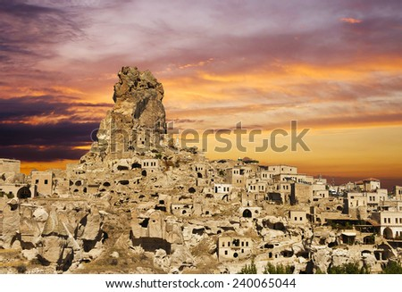 Ortahisar castle at sunset, Cappadocia, Turkey - stock photo