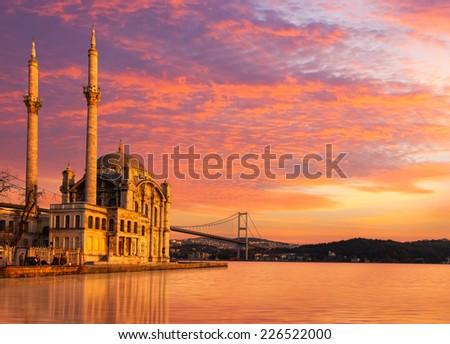 Ortakoy mosque and Bosphorus Bridge Istanbul  - stock photo