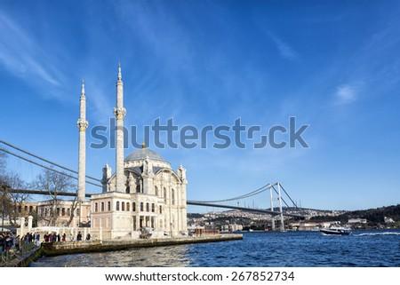 Ortakoy Mosque near Bosphorus in Istanbul, Turkey  - stock photo