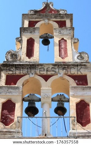 Orthodox bell tower in Corfu Island, Greece - stock photo