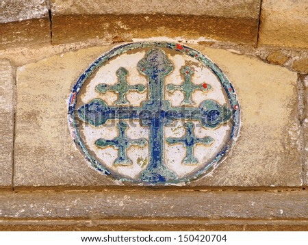 Orthodox Christian cross on the wall of Church of Saint Lazarus, Larnaca, Cyprus