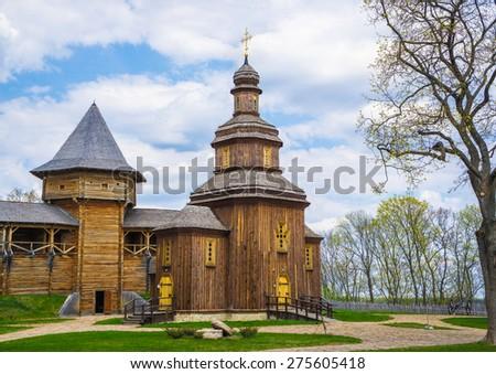 Orthodox church and inner yard of the citadel of Baturin - Hetman's capital. Ukraine. - stock photo