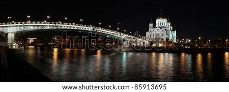 orthodox church by night panoramic view - stock photo