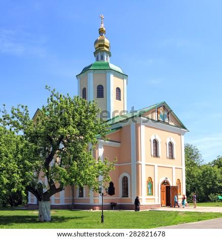 Orthodox church.Female Motroninsky Troitsk monastery. National historical and cultural reserve. Chyhyryn, Ukraine - stock photo