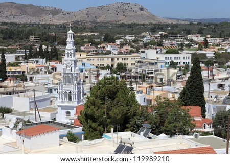 Orthodox church in Archangelos village, Rhodes island, Greece - stock photo