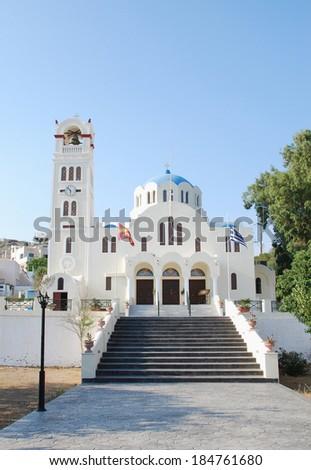 Orthodox church in Emporio (Santorini Island - Greece) - stock photo