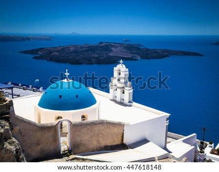 Orthodox Church in Fira on Santorini, Greece. - stock photo