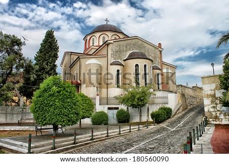 Orthodox church in Kavala, Greece  - stock photo