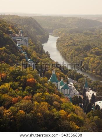 Orthodox church in Svyatogorsk, Donetsk Region, Ukraine, autumn landscape - stock photo