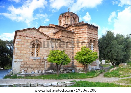 Orthodox church near the ancient agora and acropolis, Athens, Greece