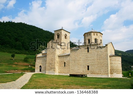 Orthodox Monastery Djurdjevi Stupovi in Montenegro - stock photo