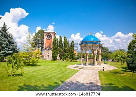 Orthodox Monastery Zica, built in 13th century, near Kraljevo, Serbia. - stock photo
