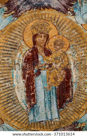 Orthodox mural painting of Mary in the Tikving monastery, Russia - stock photo