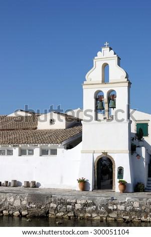 orthodox Vlacherna monastery Pontikonisi Corfu island Greece - stock photo