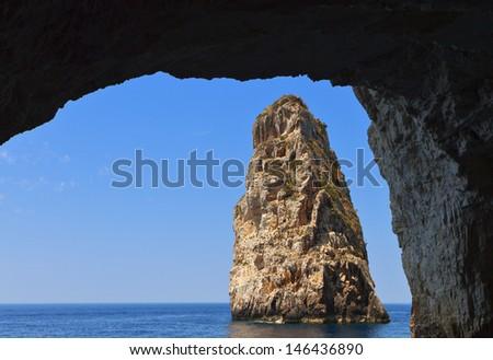 Ortholithos rock at Paxos island in Greece. Ionian sea - stock photo