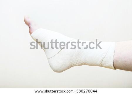 orthopedics, foot, shin, bandage, bandage, muscle ligament, elasticity, orthopedic surgery, ankle, sprain - stock photo