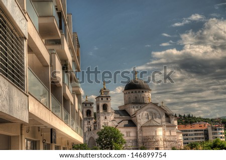 Ortodox church of the Resurrection of Christ in Podgorica Montenegro - stock photo