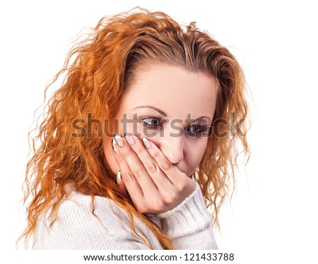 ortrait of an attractive young woman suffering from toothache - stock photo