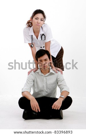 ortrait of young couple physician with Stethoscope and his boyfriend - stock photo