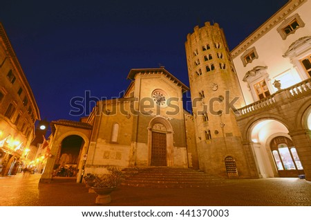 ORVIETO, ITALY - JUNE 5 2016: Church of Sant'Andrea is situated on the Repubblica square and construction of it was started in the eleventh century and expanded in the thirteenth century.