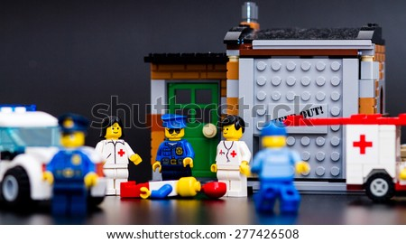 Orvieto, Italy - May 13th 2015: Police at the crime scene.Lego is a popular line of construction toys manufactured by the Lego Group - stock photo