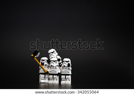 Orvieto, Italy - November 15th 2015: Group o Star Wars Lego Stormtroopers mini figures take a selfie. Lego is a popular line of construction toys manufactured by the Lego Group - stock photo