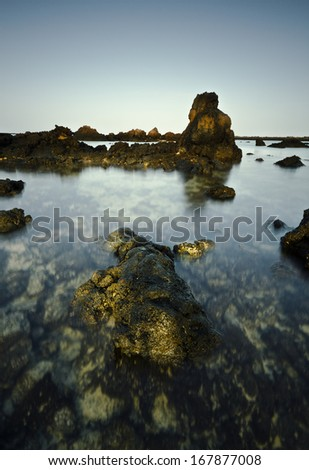Orzola beach in Lanzarote, Canary Islands, Spain - stock photo