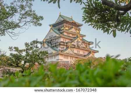 Osaka castle on Sunset clear fine day in Autumn - stock photo