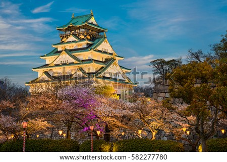 Osaka Castle with cherry trees at night, Japan