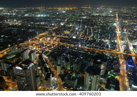 OSAKA, JAPAN -  April 15, 2015 : Cityscape night view of Osaka, The second largest city in Japan. night view from HARUKAS 300
