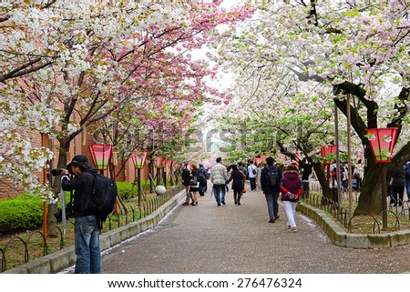 OSAKA, JAPAN - April 13: Crowd of people at Japan Mint in Osaka, Japan on April 13, 2015. It is the famous Cherry Blossom Viewing in Osaka. - stock photo