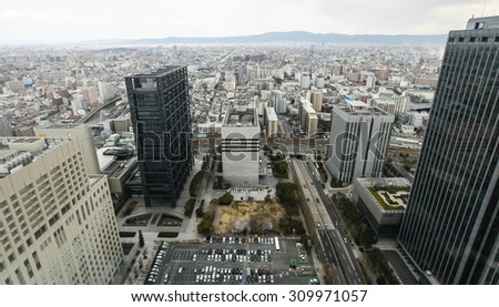OSAKA, JAPAN - APRIL 7, 2012: High-rise buildings in Osaka, high angle view.