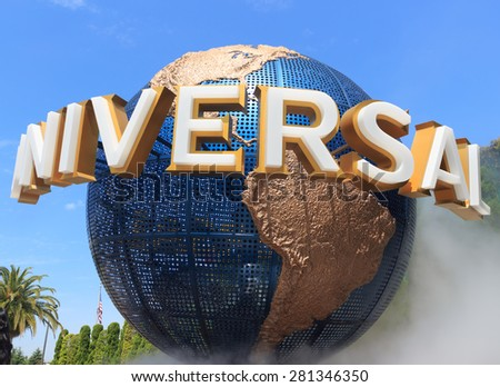 Osaka, Japan - April 27: View of Universal Globe outside the Universal Studios Theme Park in Osaka, Japan on - April 27, 2015. The theme park has many attractions based on the film industry.