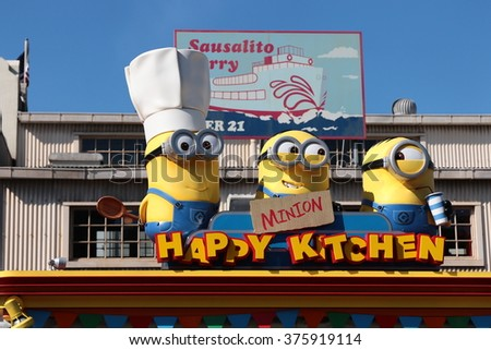 "OSAKA, JAPAN - FEB 11, 2016 : Photo of ""HAPPY MINION KITCHEN"" shop, selling Minion Chinese buns, located in Universal Studios, Osaka, Japan. Minions are famous character from Despicable Me animation."
